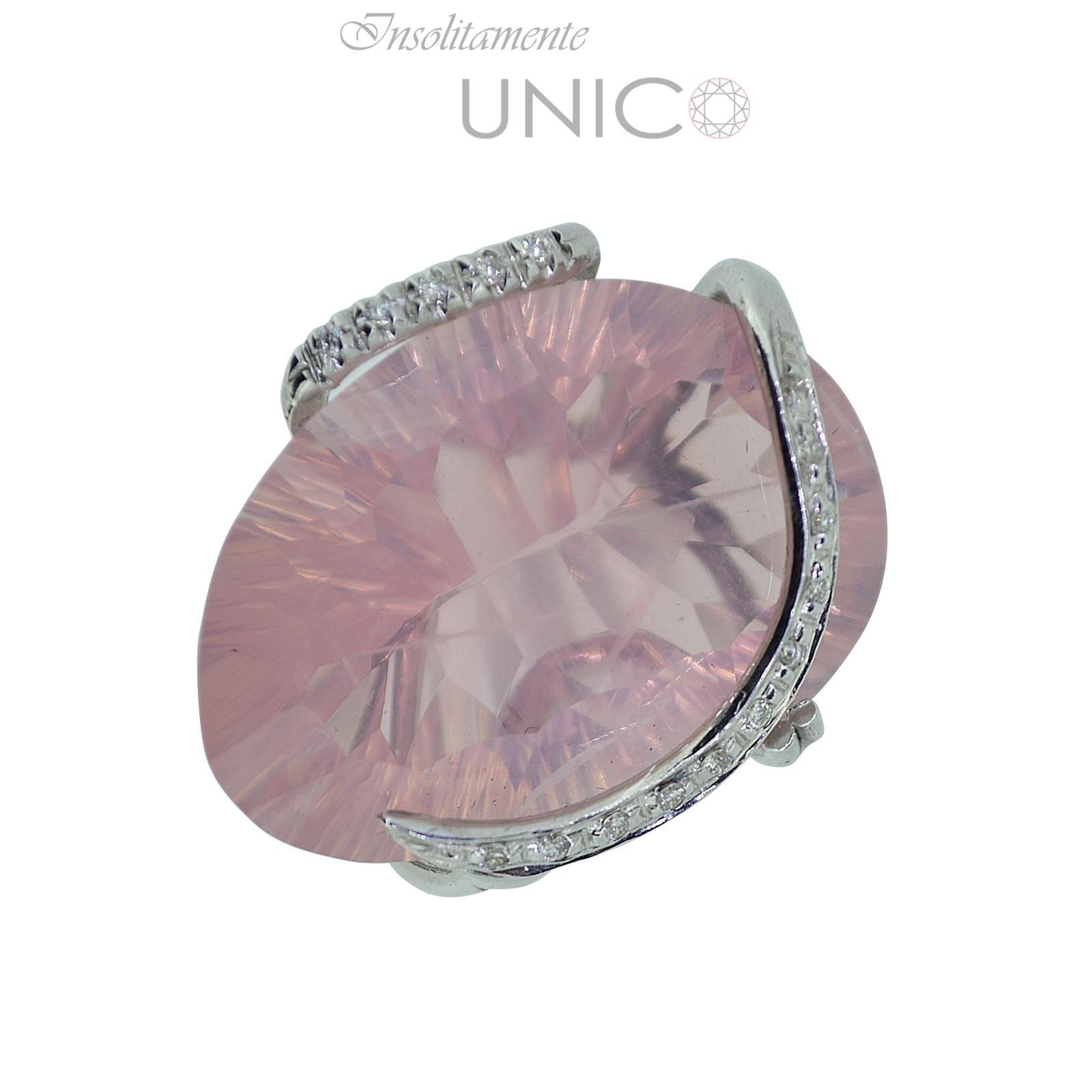 Connu Anello in oro bianco con quarzo rosa e brillanti - Giuseppe Cosentino JH12