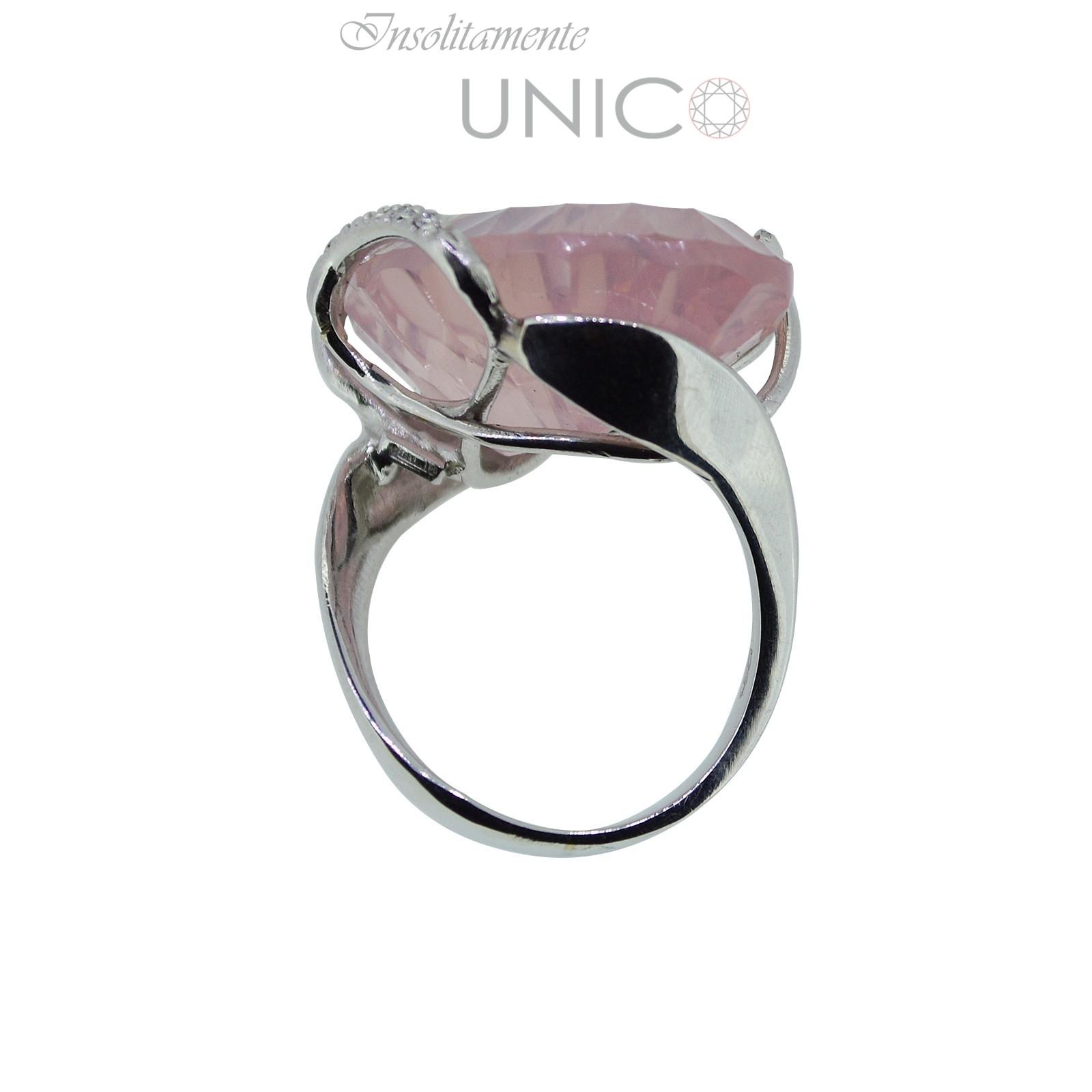 Extrêmement Anello in oro bianco con quarzo rosa e brillanti - Giuseppe Cosentino OY28