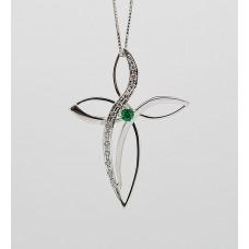Croce con smeraldo e brillanti