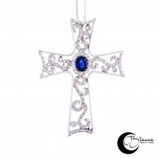 Cross, white gold 750 thousandths with sapphire and diamonds