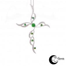 Croce oro con smeraldi e brillanti