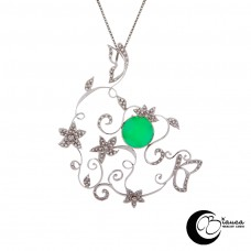 gold pendant flowers and butterflies with Chrysoprase