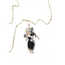LEBOLE, collana kimono seta e argento grande perla
