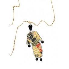 LEBOLE, collana kimono seta e argento grande