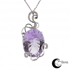 gold pendant with amethyst and diamonds