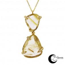 Gold Pendant with Quartz and diamonds