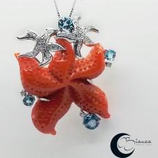 Золотой кулон с Star Корал, топазом и бриллиантами