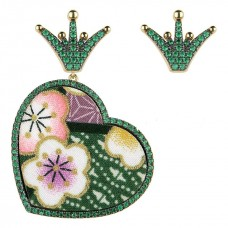 Lebole, Kokoro Must earrings large green