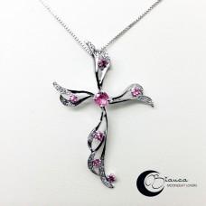Золотой крест с бриллиантами и розовыми сапфирами