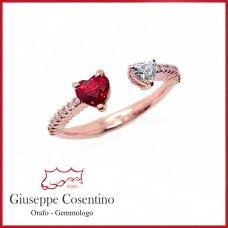 Рубин и блестящее сердце кольцо