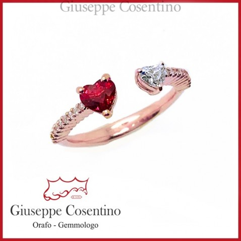 Ruby and Brilliant Heart Ring