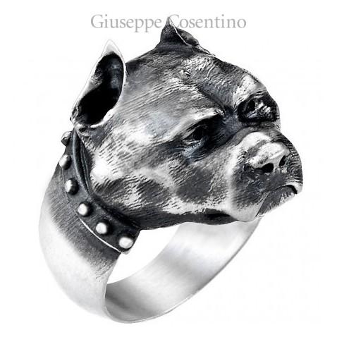 Anello con pitbull in argento