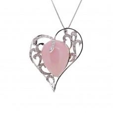 Ciondolo in oro bianco con opale rosa e brillanti