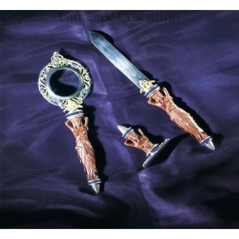 Set da scrivania in argento 925 e legno inciso a mano