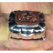 Portagioie in argento 925 e legno inciso a mano
