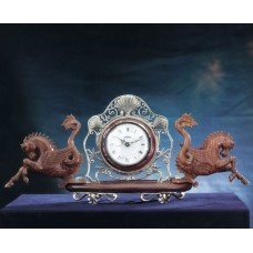Orologio da scrivania in argento 925 e legno inciso a mano