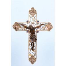 Croce in argento 925, lapistazulli e legno inciso a mano