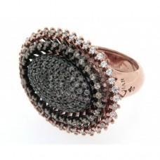 Azhar Anello in argento rosato con pietre incastonate