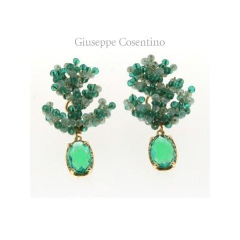 fc657c13ba225a Maria Sole gioielli orecchini in argento 925 dorato con cristalli e quarzi  idro verdi